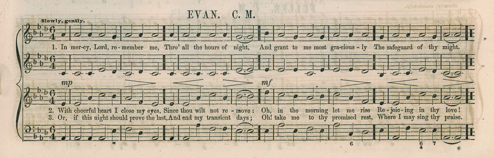 Fig. 8.  Lowell Mason,  Cantica Laudis  (1850), p. 143. Melody in the tenor voice (third line).