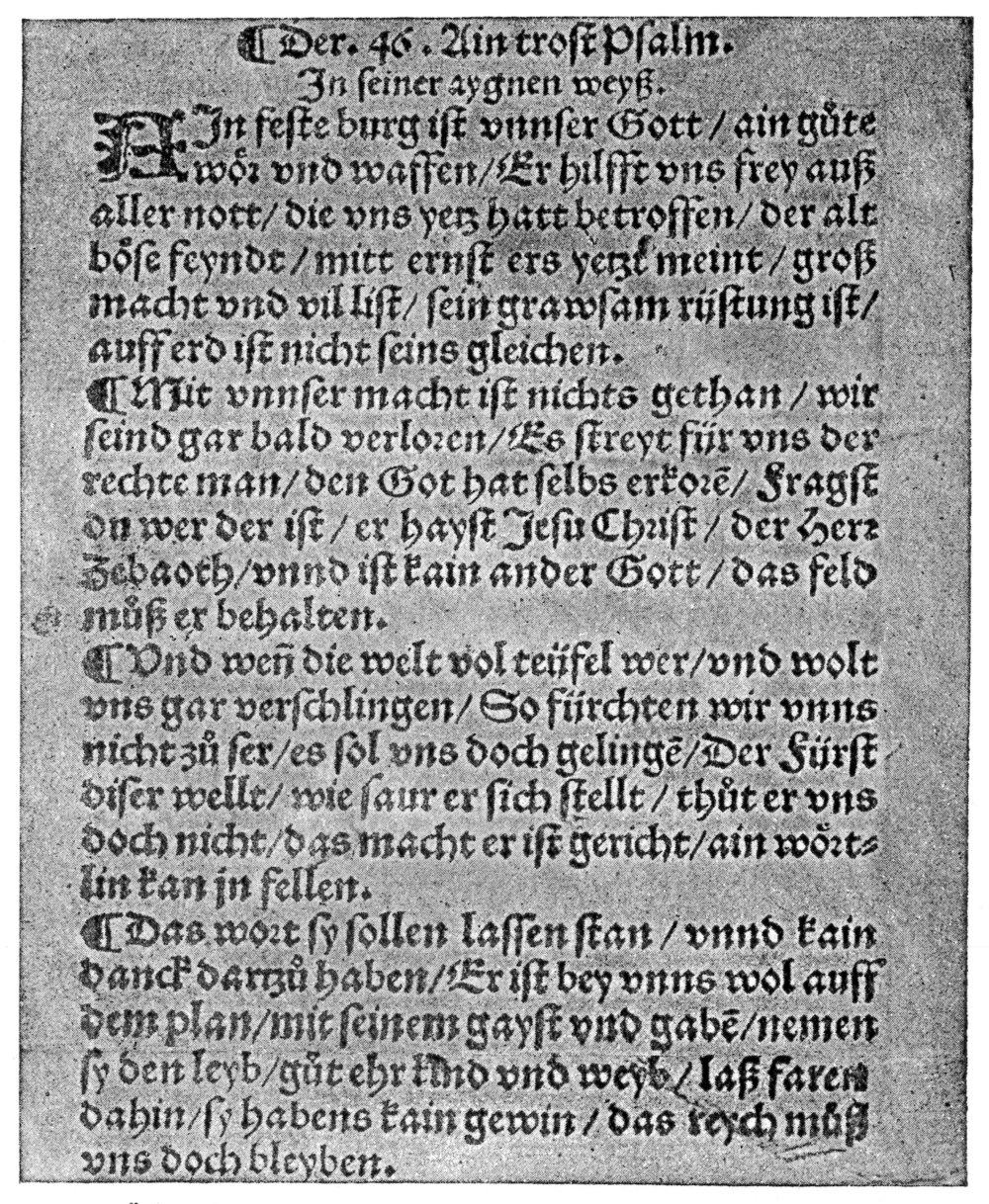 Fig. 1.  Jakob Dachser,  Form vnd Ordnung gaystlicher Gesang vnd Psalmen  (Augsburg, 1529), reprinted in Johannes Kulp,  Luthers Leben im Spiegel seiner Lieder  (Leipzig, 1935), p. 46.