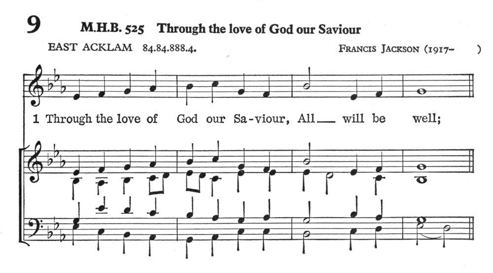Fig. 2.   Hymns and Songs  (London: Methodist Publishing House, 1969), excerpt. Tune ©1960 Francis Jackson.