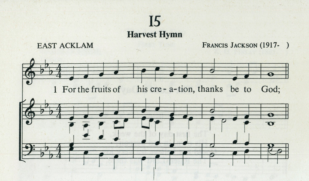 Fig. 3.  Fred Pratt Green,  26 Hymns  (London: Epworth, 1971), excerpt. Text ©1970 Hope Publishing Co., tune ©1960 Francis Jackson.