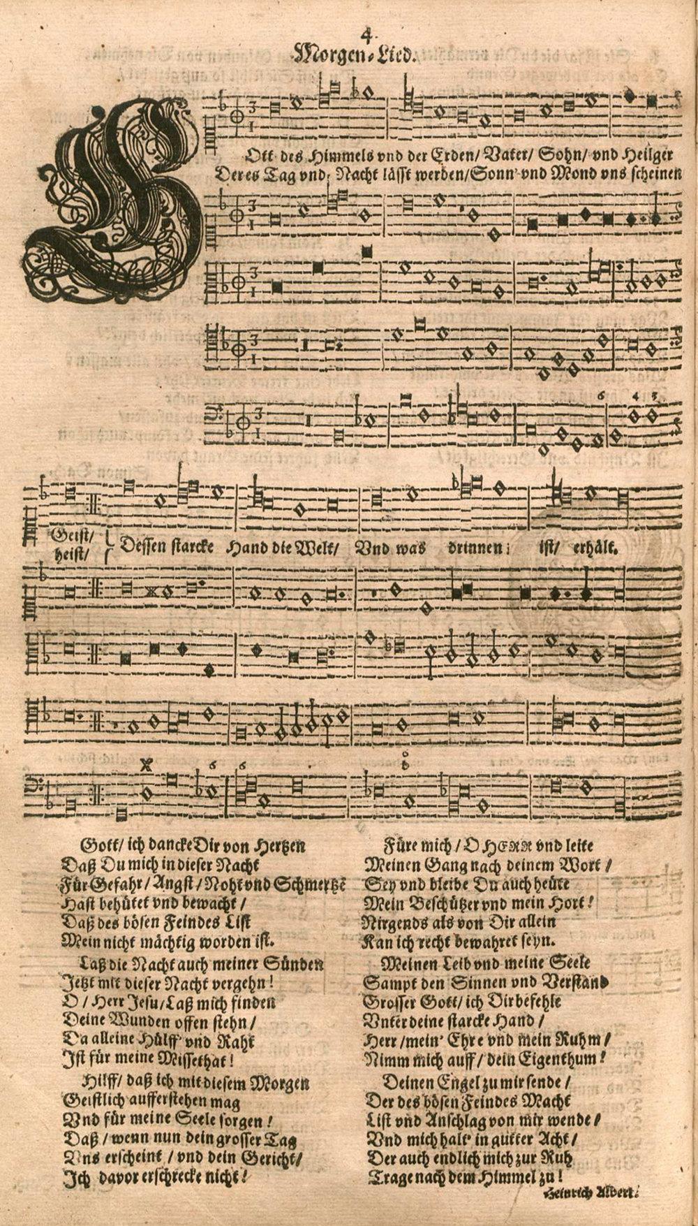 Fig. 1.  Heinrich Albert,  Fünffter Theil der Arjen oder Melodeyen Etlicher theils Geistlicher  (Königsberg in Preüssen, 1642).