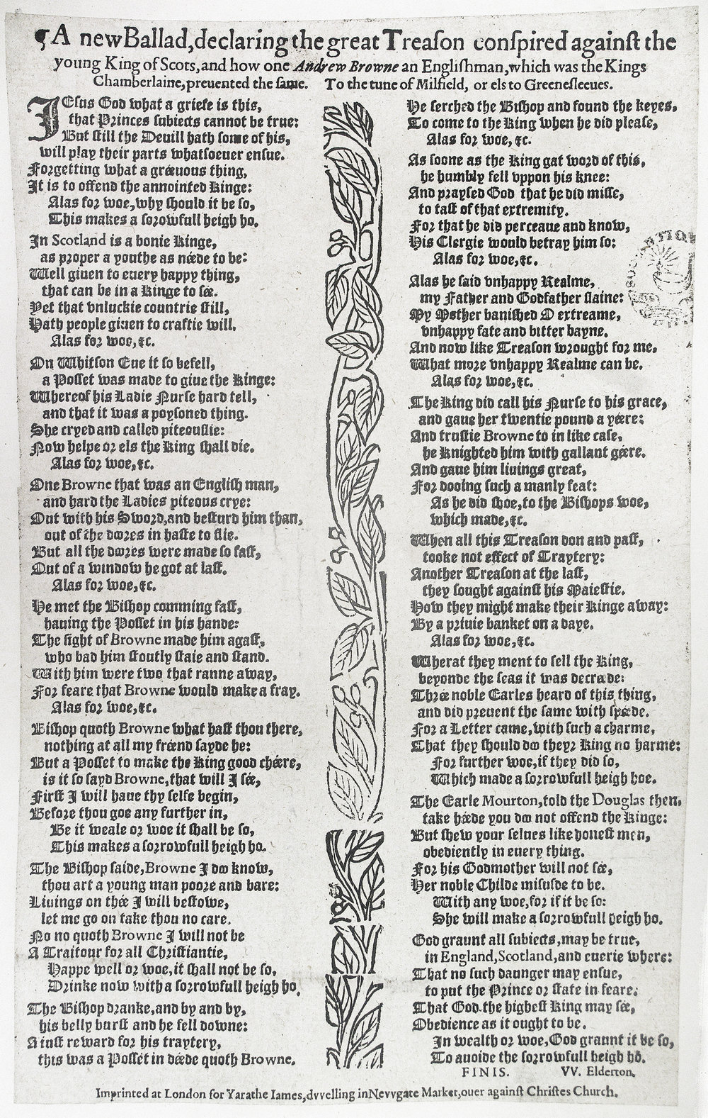 """Fig. 3.  W. Elderton, """"A new ballad …"""" registered 30 May 1581. Reproduced by permission of the Society of Antiquaries of London."""