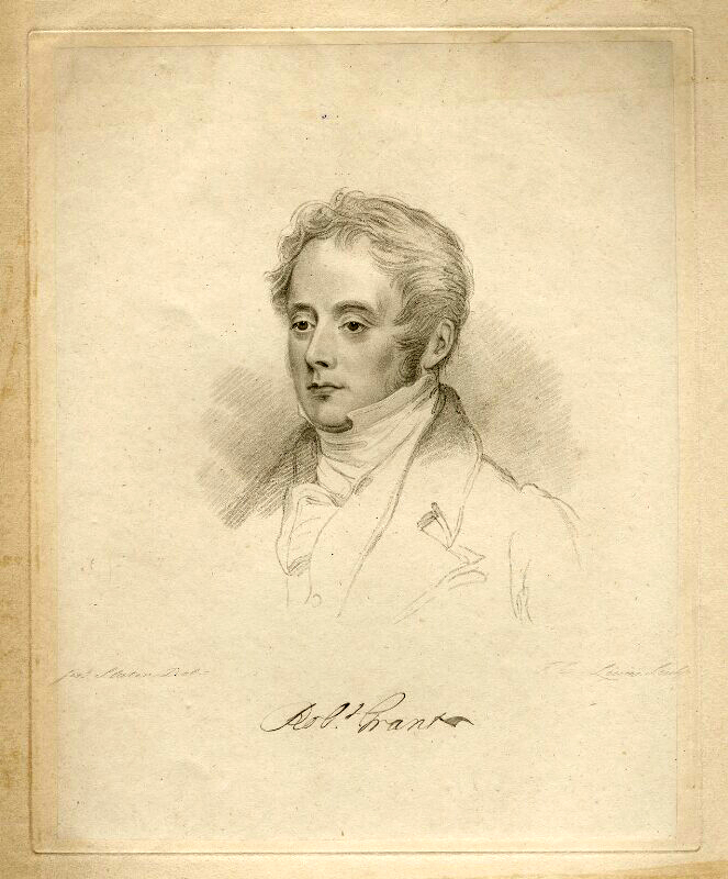 Robert Grant , engraving by Frederick Christian Lewis Sr, after a painting by Joseph Slater, ca. 1826. National Portrait Gallery, London, NPG D20594 ( https://www.npg.org.uk ).