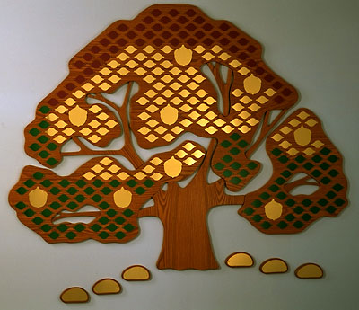 Donor Tree gold, red and green leaves, acorns and stones for 5 levels of giving.jpg