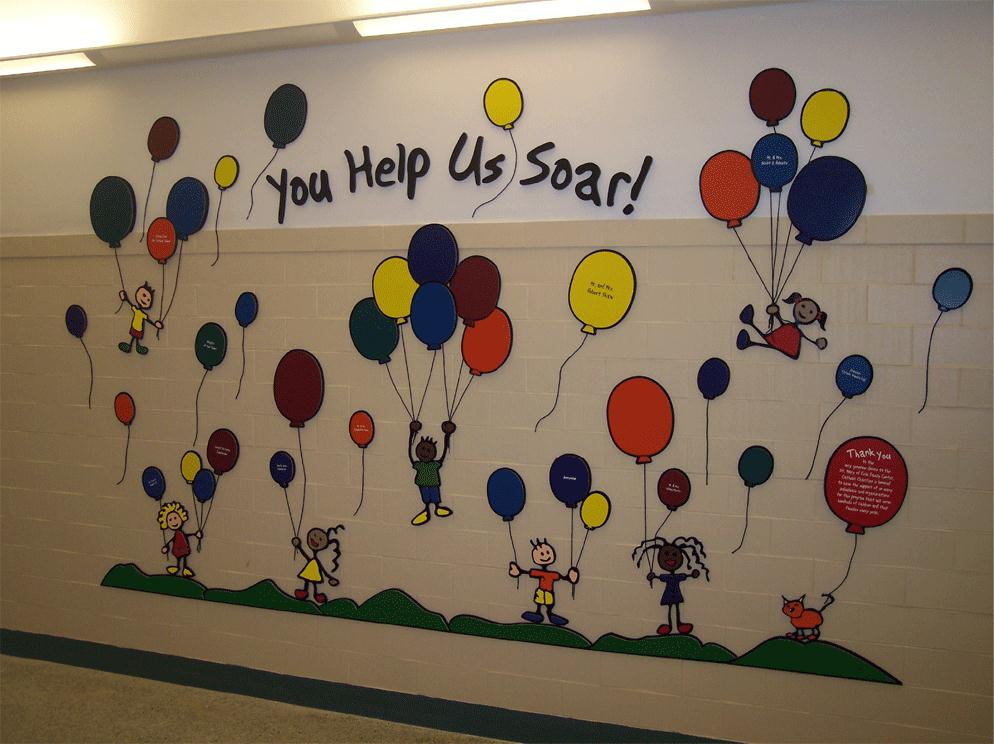 Perfect for hospitals, schools, museums, and libraries. - Children themed donor walls are great for recognition programs that need bright, colorful and inexpensive materials to work with.  Giving levels can be designated by size of the star or balloon. We often put the stars and balloons onto an acrylic