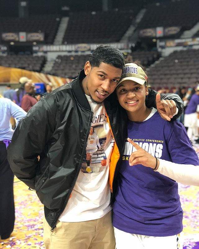 Congratulations to the All Tourney, MVP, and Champion of the #MEAC . Kala G!! All those one-on-one's in the neighborhood when we were kids paid off! Love you sis. I️ finally admit that  you're better than I was. Job Well Done To You And The @ncatsuaggies ! #meac2018 #champion #ncataggies #senioryear #KG21 #number1 #winner #greatness #family #norfolk #virginia #ncat #sister #basketball #college