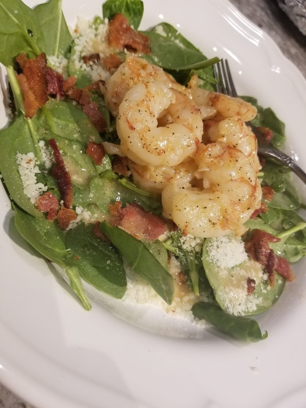 Hot Bacon Fat Spinach Salad - With Shrimp