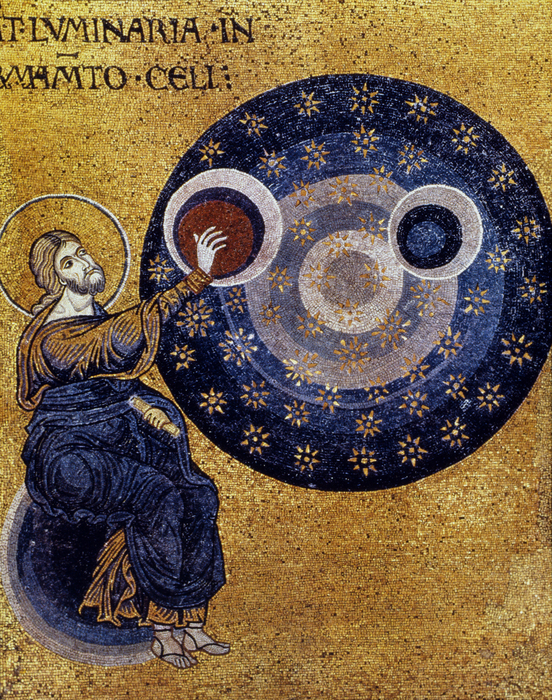 Christ creating the cosmos. The cosmos is his work of sacred art.