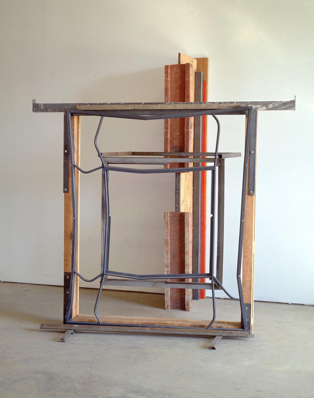 "Index      1990-95   h.100 3/4  "" x w.91 1/4"" x d. 85""  Wood, steel, stainless steel,aluminum, plexiglas"