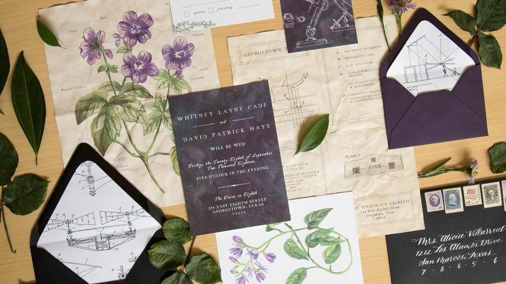 Industrial Victorian Botany Invitations