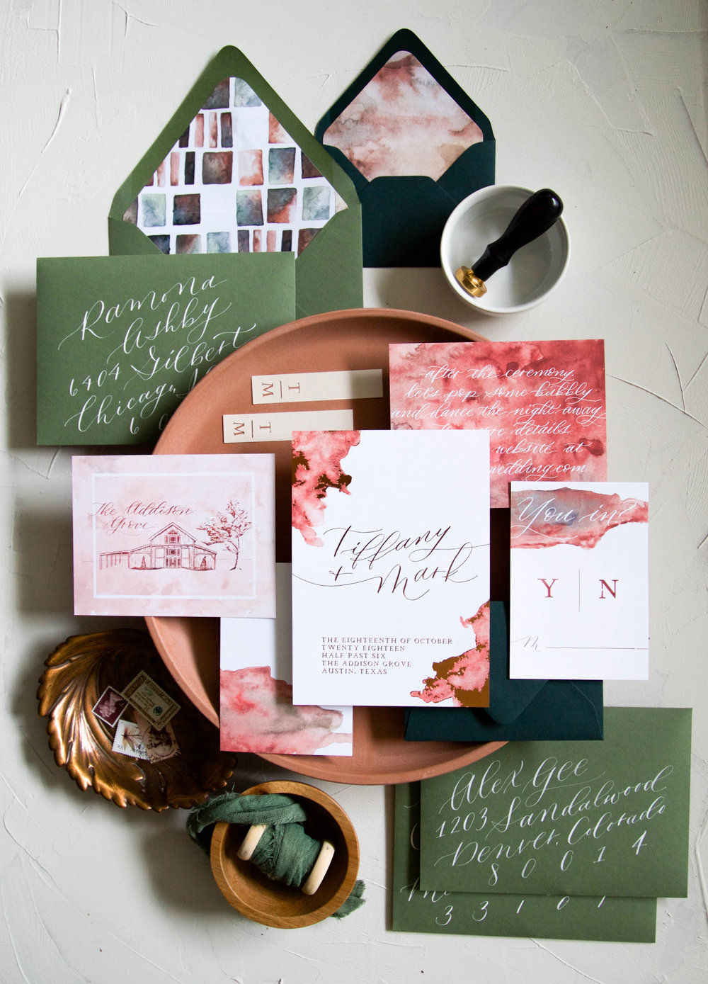 Autumn Invitation Suite - Copper and Green.