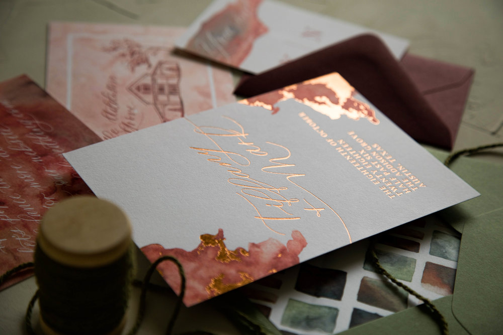 Autumn Invitation Suite with Copper Foil