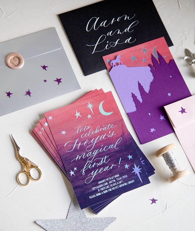 I can't believe my girl is almost a year old! For Freya's first birthday invitations, I used metallic wax, holographic rainbow foil, and custom-cut overlays to make them feel really magical. Happy, sparkly invitations for my happy, sparkly baby.