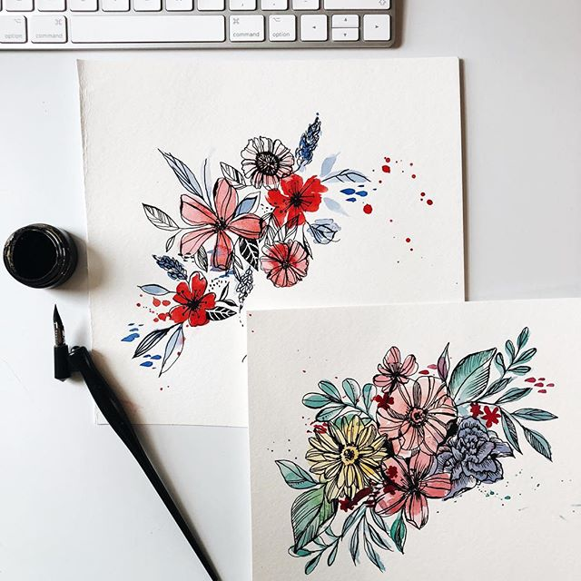 Watercolor florals +black ink ✨🌷🌼🌺🌸 These are quick paintings that I did when I was stressed out, it's relaxing somehow🙌🏻 You may remember them from my stories I posted a while ago😂 but you know I always post them on my feed so much later🤷🏼‍♀️ . #watercolors #blackink #doodles #ilustration #art #florals #nature #artitst