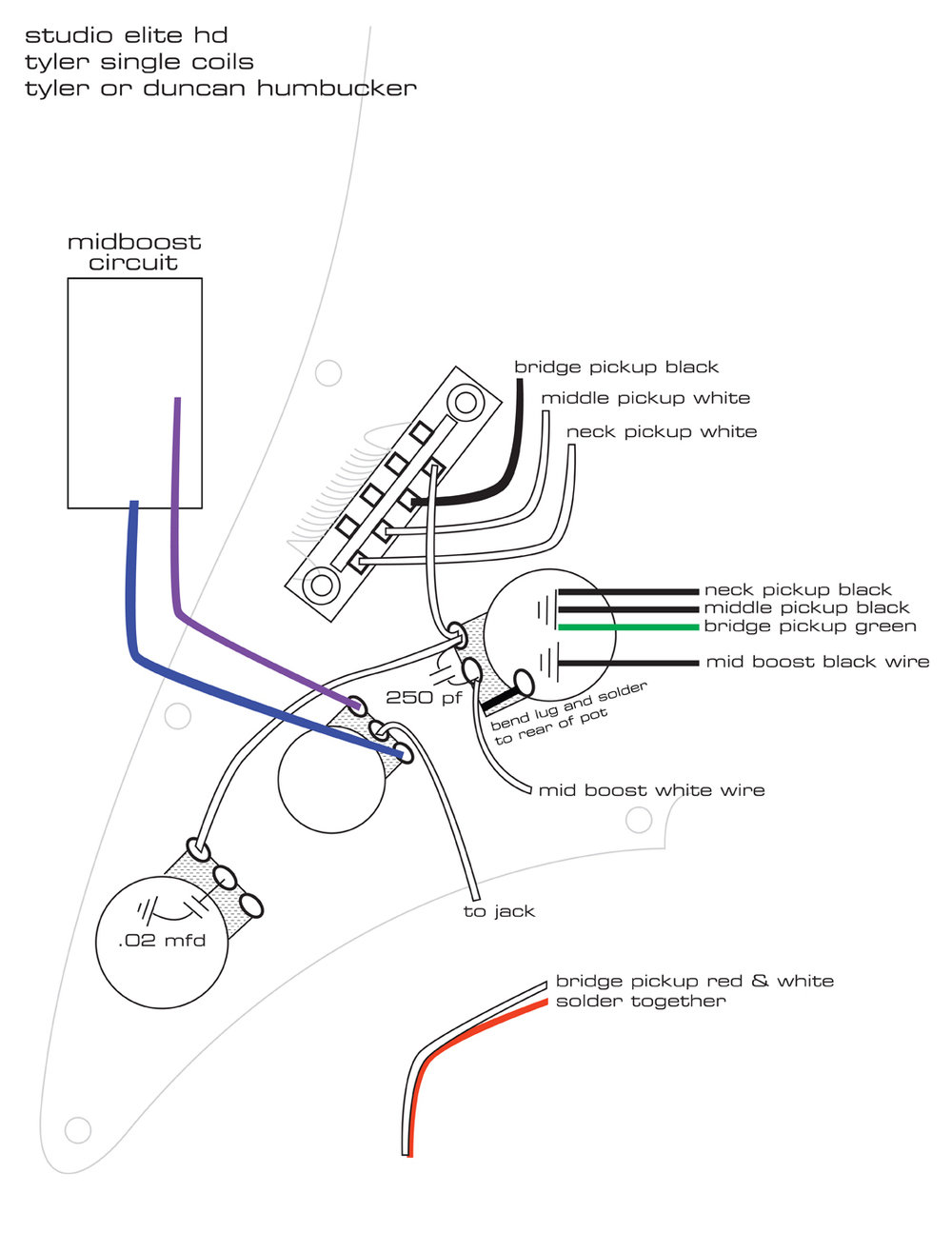 Pickguard Wiring Diagrams James Tyler Guitars A Guitar Pickup Ssh