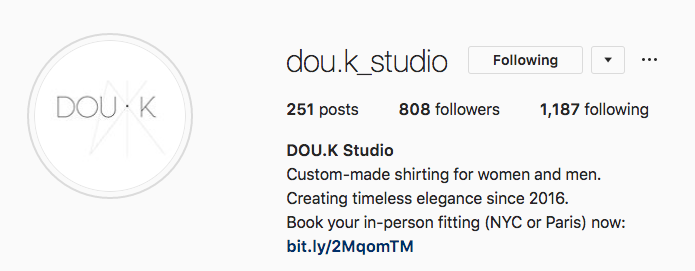 DOU.K Instagram bio