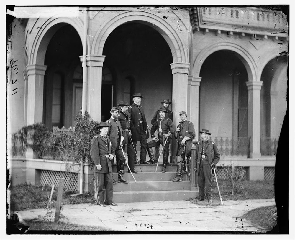 General Edwin V. Sumner with his staff, including his son, Brigadier General Edwin V. Sumner Jr., him and his father are knee-to-knee in the middle. - Mads 2.jpg