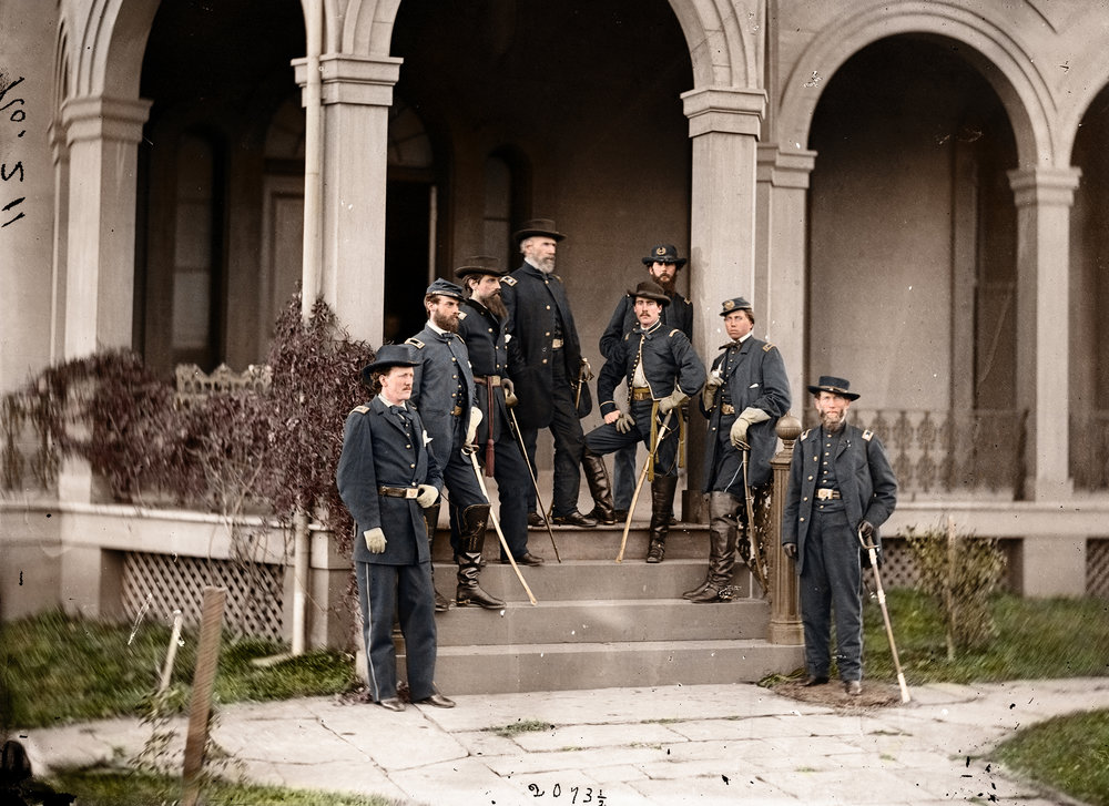 General Edwin V. Sumner with his staff, including his son, Brigadier General Edwin V. Sumner Jr., him and his father are knee-to-knee in the middle. - Mads.jpg