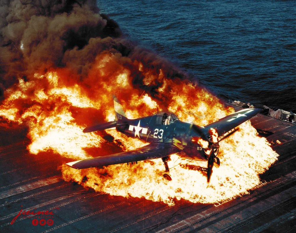 Burning F6F-5 Hellcat white 23