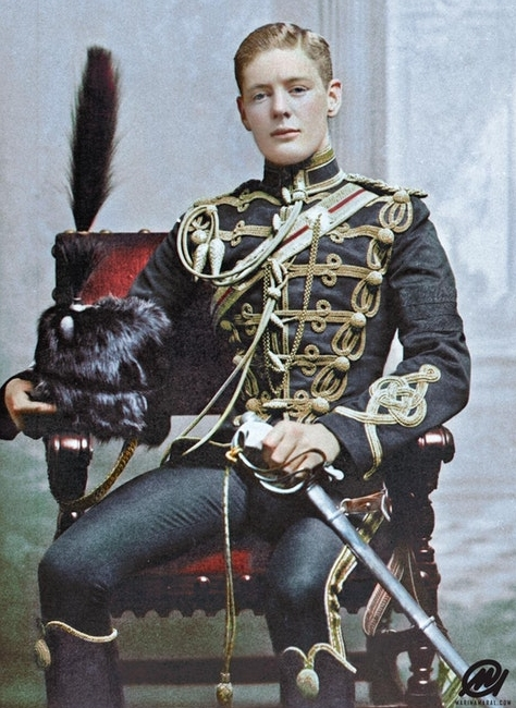 Winston Churchill as a Cornet in the 4th Queen's Own Hussars aged 21, 1895