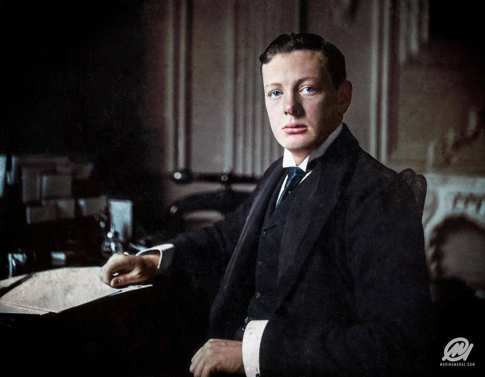 Winston Churchill aged 24 Preparing for Oldham By-Election, May 1899