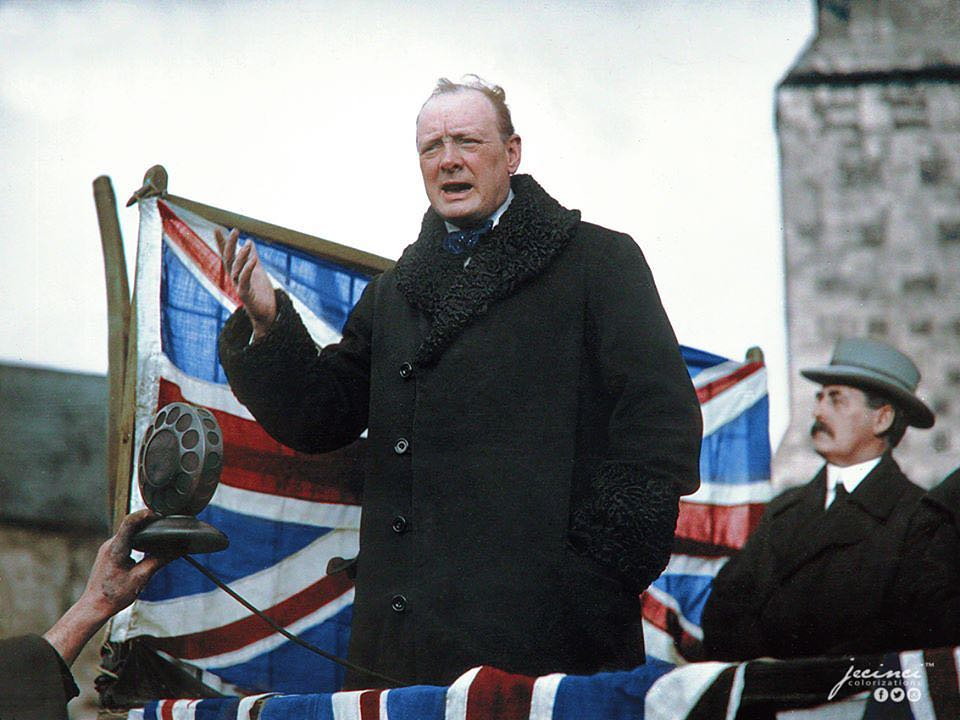Winston Churchill Speaking at Westminster Abbey after Being Elected as MP for Epping, October 1924