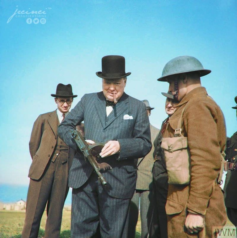 Winston Churchill Holding a Tommy Gun During an Inspection of Coastal Defences in Durham, England, 31 July 1940