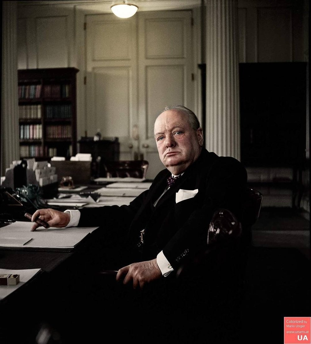 Winston Churchill in the Cabinet Room of 10 Downing Street, 1941