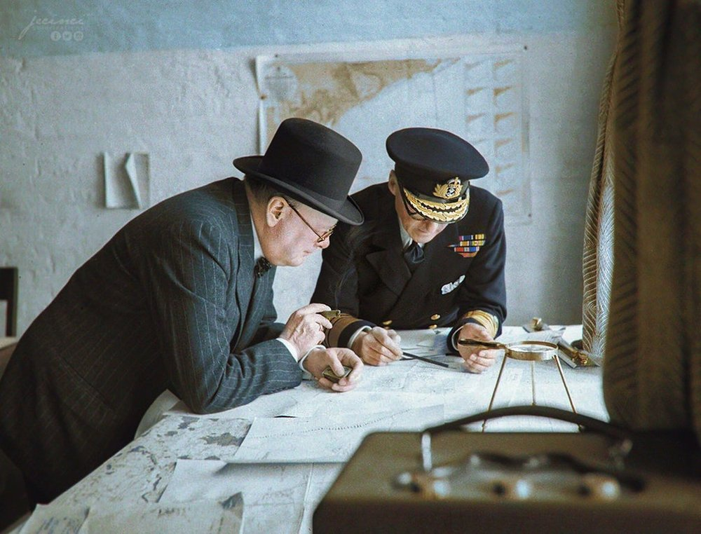 Winston Churchill and Vice Admiral Sir Bertram Ramsay Study Reports of the Day, 28 August 1940