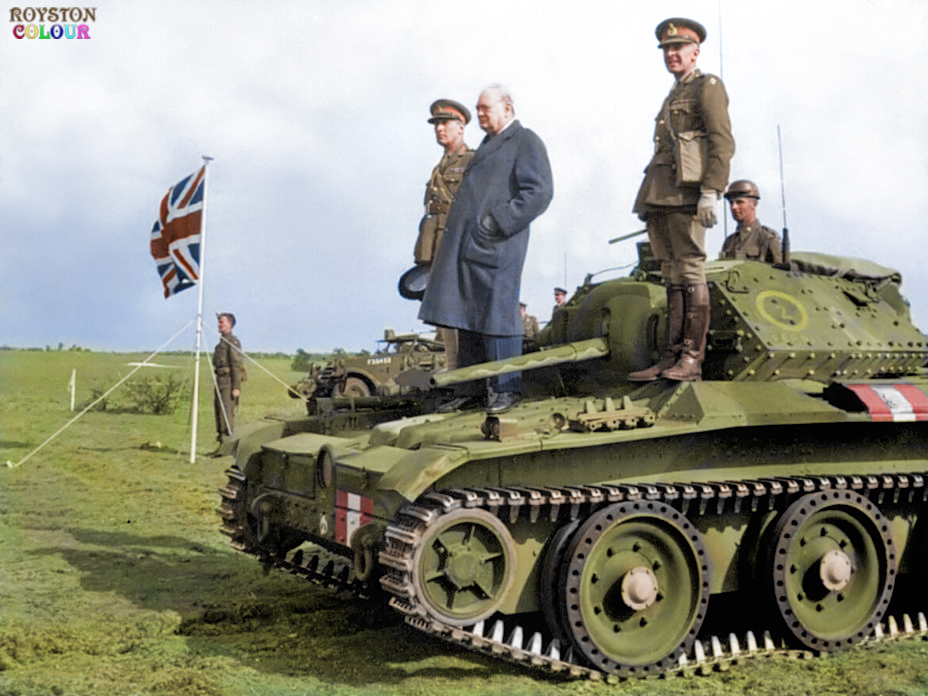 Winston Churchill Using a Covenanter III Tank from as a Podium, May 1942