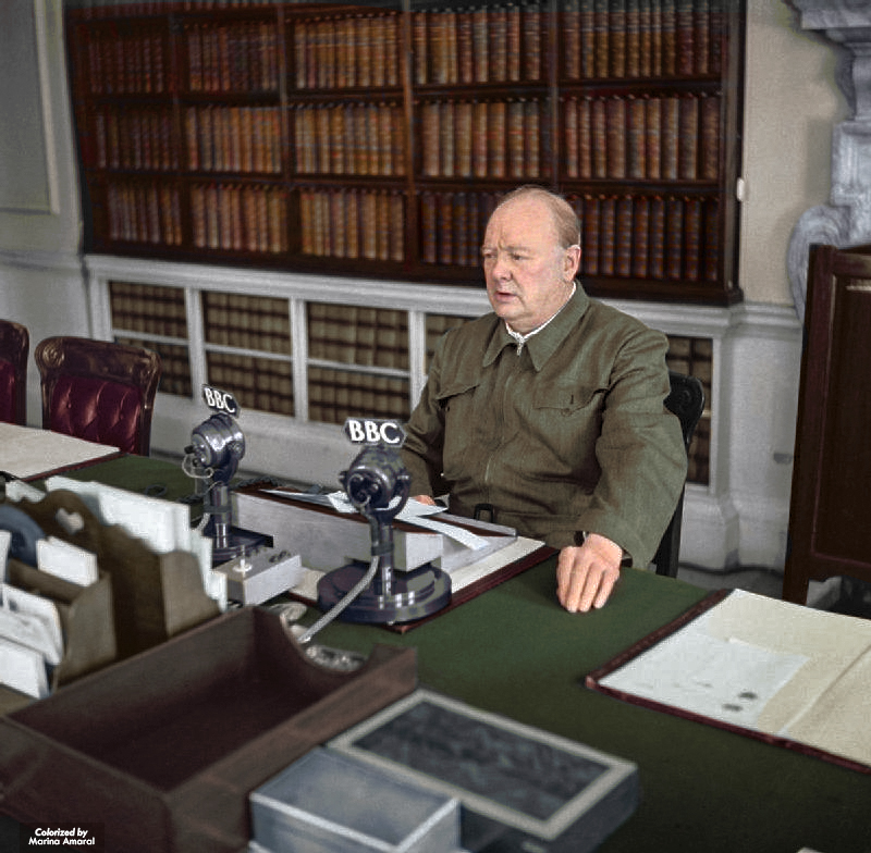 Winston Churchill Making a Radio Address from the Cabinet Room at 10 Downing Street, June 1942
