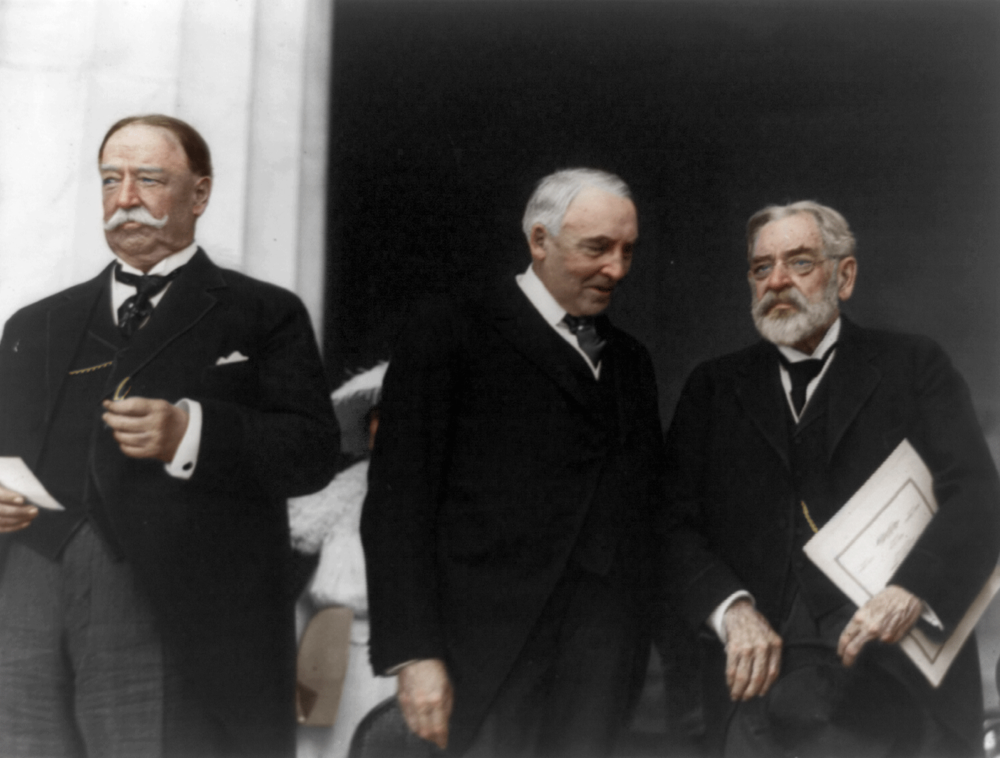 Warren G. Harding, 29th President of the United States, 1921-1923. This photograph shows him alongside Chief Justice William Howard Taft and Robert Todd Lincoln