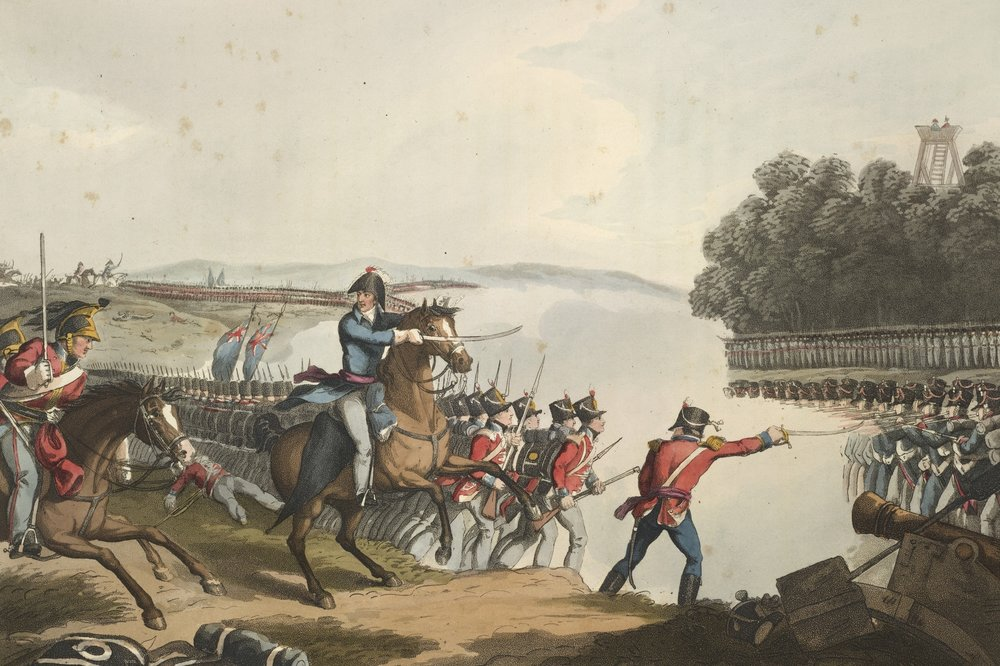 This 1819 painting shows the Battle of Waterloo. The 1st Duke of Wellington, Arthur Wellesley, leading a charge against the French Imperial Guards on 18th June 1815. It was the last major battle of the Napoleonic War.