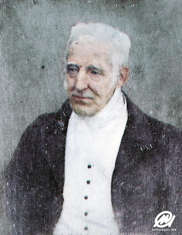 Arthur Wellesley, 1st Duke of Wellington, aged 74 or 75 in 1844. This photograph is in color thanks to  Marina Amaral