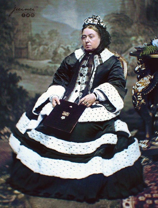 Queen Victoria in 1872 wearing the dress that she wore at the Thanksgiving Service for the recovery of Edward Prince of Wales, who had Typhoid.