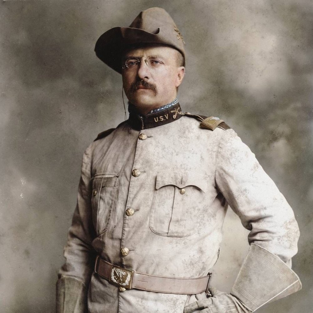 Colonel Theodore Roosevelt posing in his Rough Riders uniform c. 1898. Colorization by  Mads Madsen
