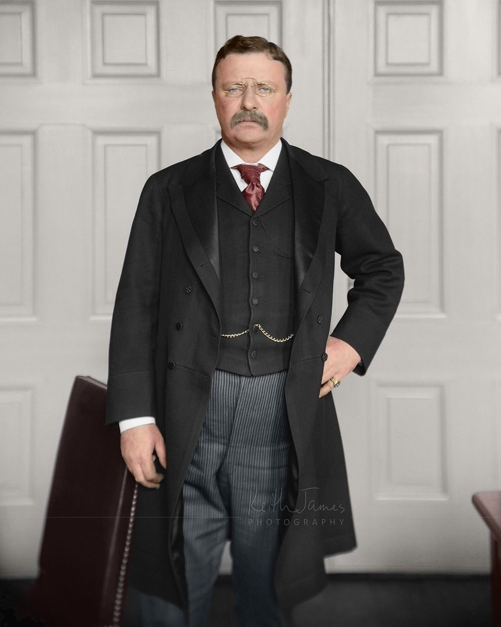 26th President of the United States, Theodore Roosevelt in the Oval Office. Date unknown. Colorization by  Keith James