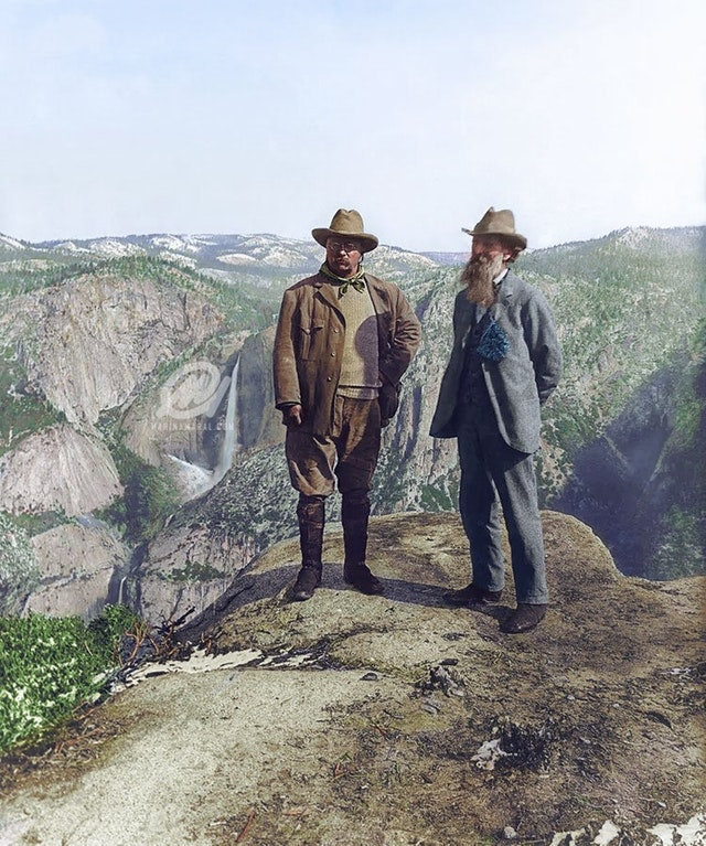Theodore Roosevelt, 26th President of the United States, and naturalist John Muir on Glacier Point in Yosemite National Park in 1903. Colorization by  Marina Amaral