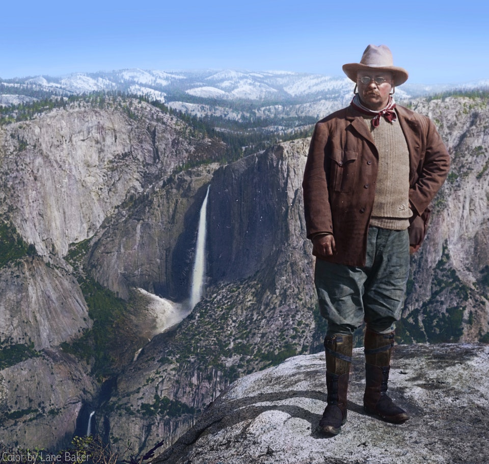 President Theodore Roosevelt at Yosemite National Park in 1903. Colorization by  Lane Baker