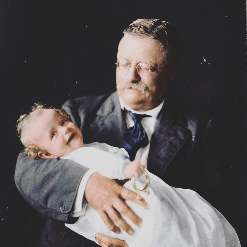 Theodore Roosevelt holding his Grandson, Kermit Roosevelt Jr., in 1916. Colorization by  Mads Madsen
