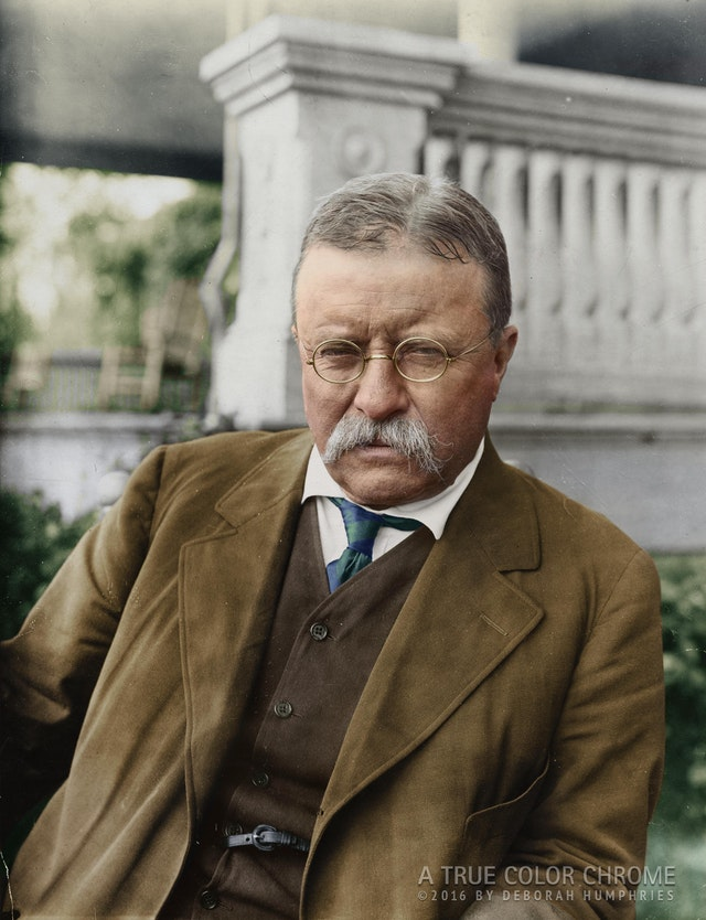 Theodore Roosevelt at his home in Sagamore Hill, Oyster Bay, New York. Photograph taken in c. 1916. Colorization by  TrueColorChrome