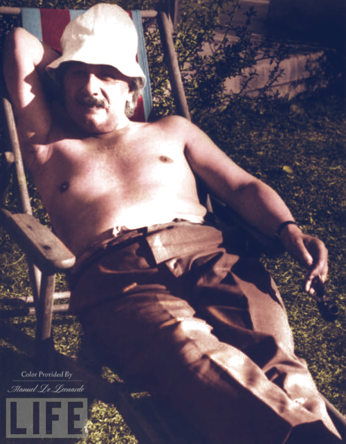 Albert Einstein relaxing at a beach in California, United States in c. 1939