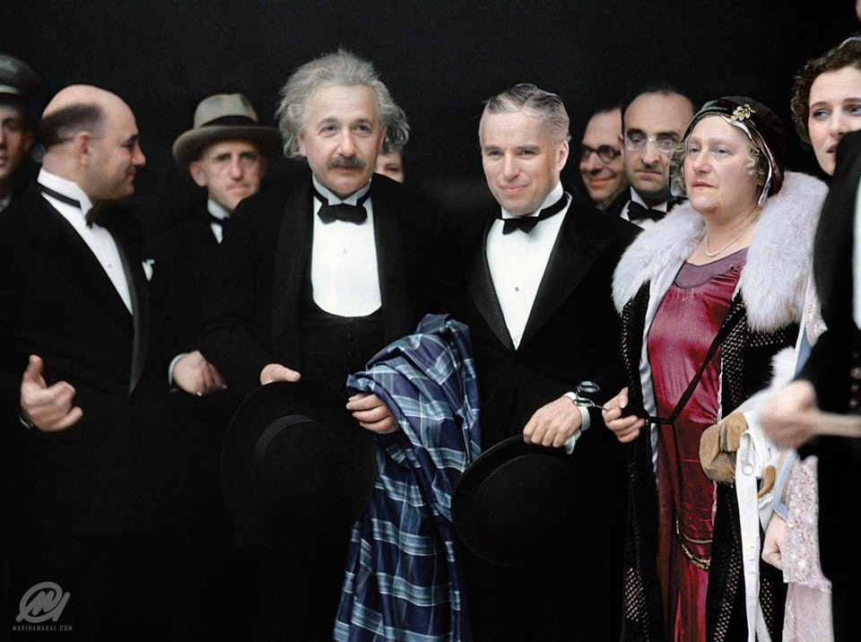 Charlie Chaplin and Albert Einstein attend the premier of City Lights in Los Angeles on 2 February 1931.