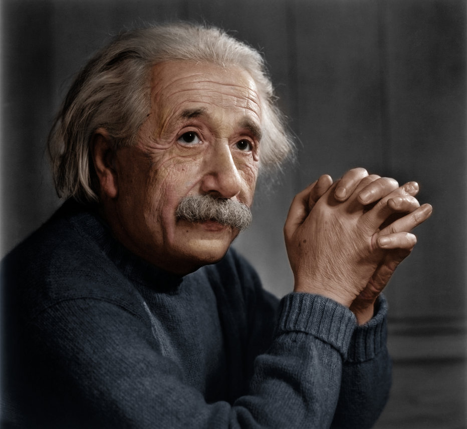 Albert Einstein at the age of 69 in 1948 during a photo shoot by Yousuf Karsh