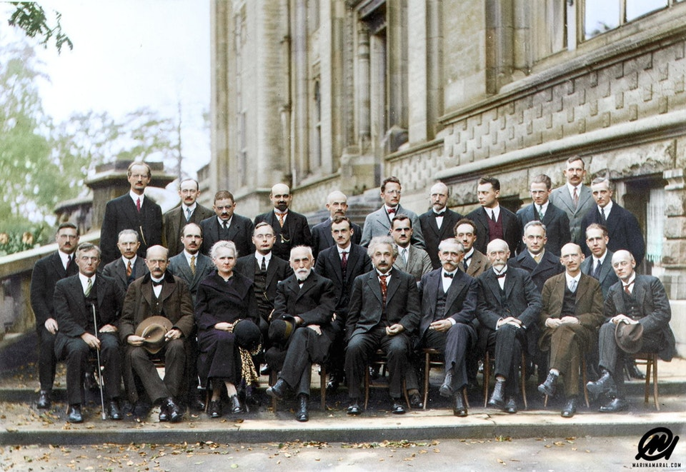 Participants of the 5th Solvay Conference on Quantum Mechanics in 1927. Albert Einstein, Marie Curie and Niels Bohr feature in this photograph and 17 of the 29 attendees were or became Nobel Prize winners.