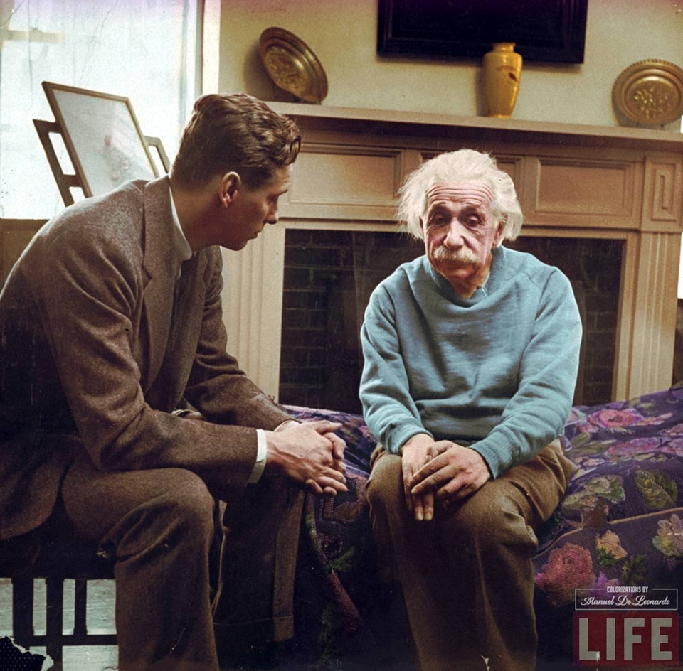Often mistaken as Einstein with his therapist, this photograph shows him speaking with Cord Meyer Jr., the President of the United World Federalists. Photograph taken in 1948.