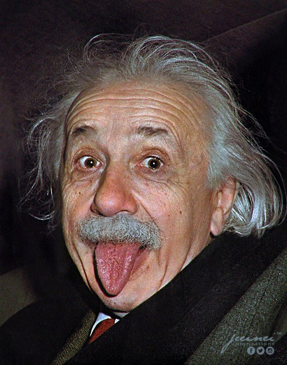 Albert Einstein sticking his tongue out at the media on his 72nd Birthday celebrations whilst in a car in 1951.