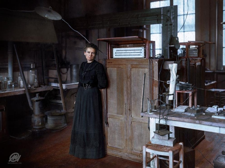 Photograph of Marie Curie in her laboratory in Paris in 1912. Colorization by  Marina Amaral