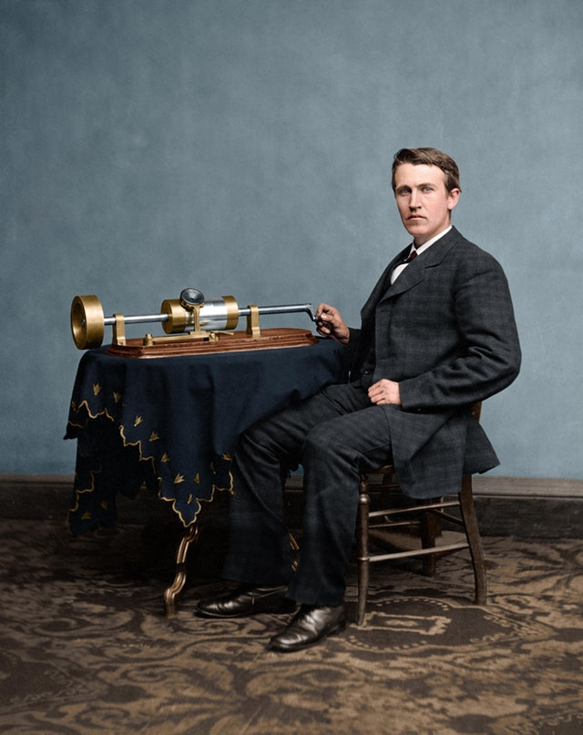Photograph of Thomas Edison with his second phonograph in 1878. Photograph taken by Mathew Brady, famous Civil War photographer. Colorization by  Mads Madsen