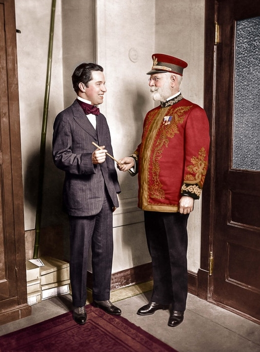 Charlie Chaplin and John Philip Sousa, who was an American composer and conductor, in 1916.